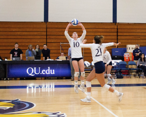 Quinnipiac+volleyball+falls+to+Rider+in+annual+Dig+Pink+game