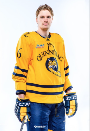 Sophomore Dan Nybondas leaves the Quinnipiac men's ice hockey team