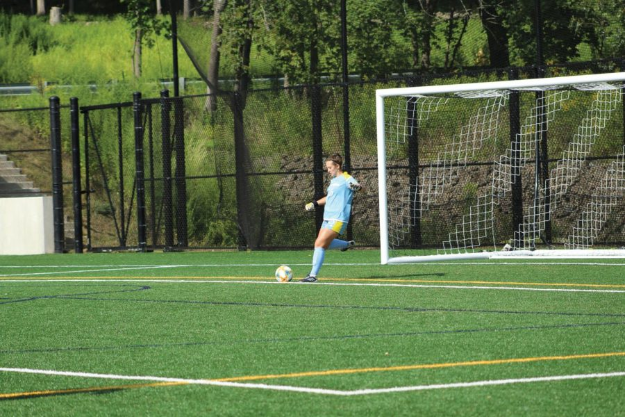 Freshman goalkeeper Meaghan Phillips takes a goal kick.