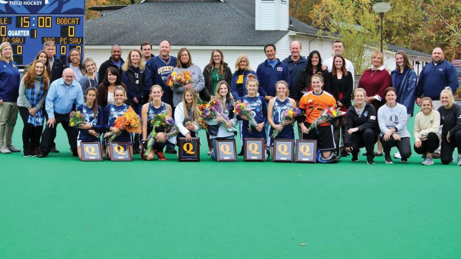 Field hockey celebrates senior day by giving plaques to those who will graduate before its next season.