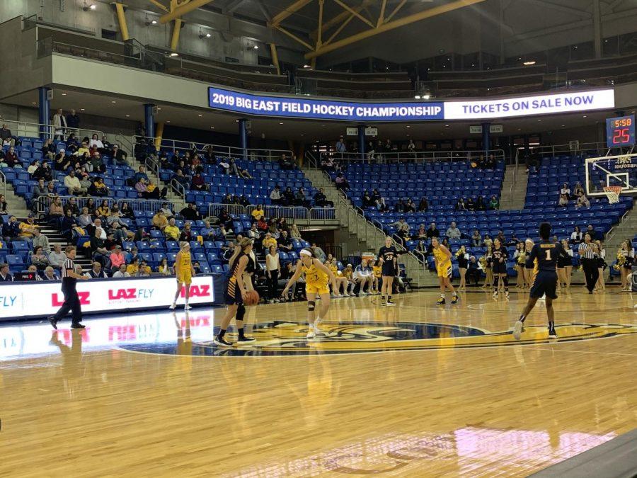 Freshman guard Mackenzie DeWees picks up her matchup at half court.