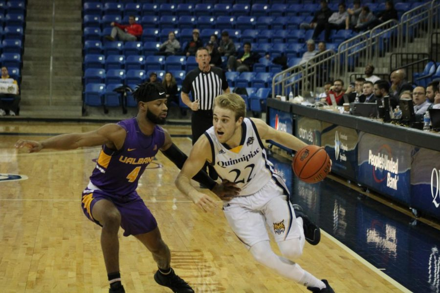 Quinnipiac wins its first game of the season in its inaugural game of the Bobcats Invitational