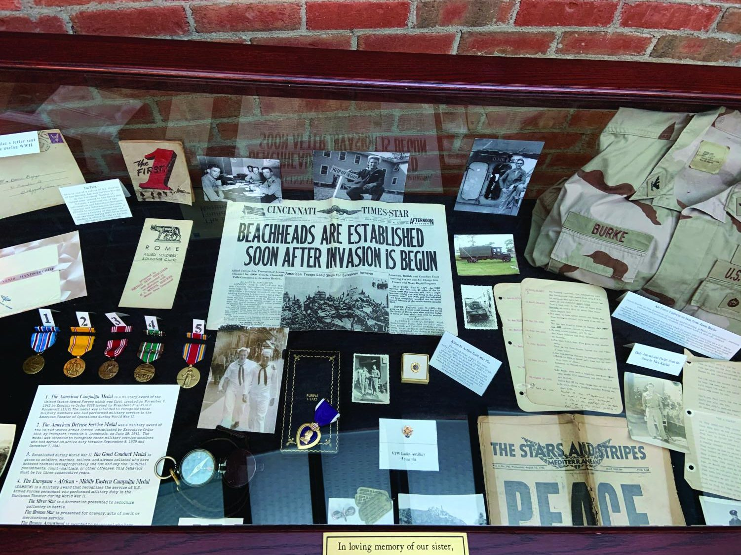 The exhibit displayed items provided by student veterans and O'Hare's family treasures.