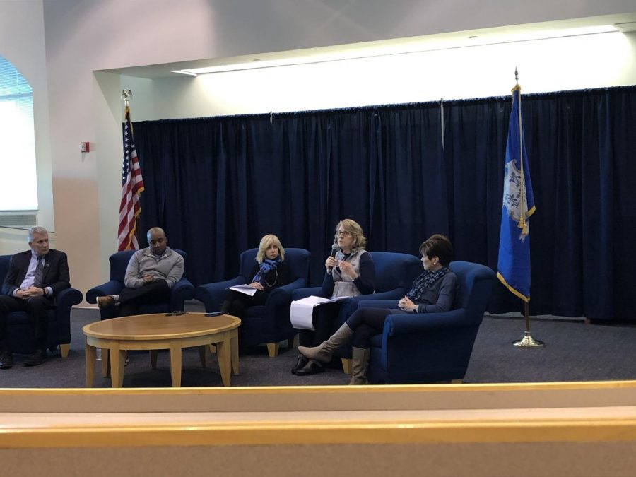 Olian and other administrators answered students' questions at a town hall Dec. 3.