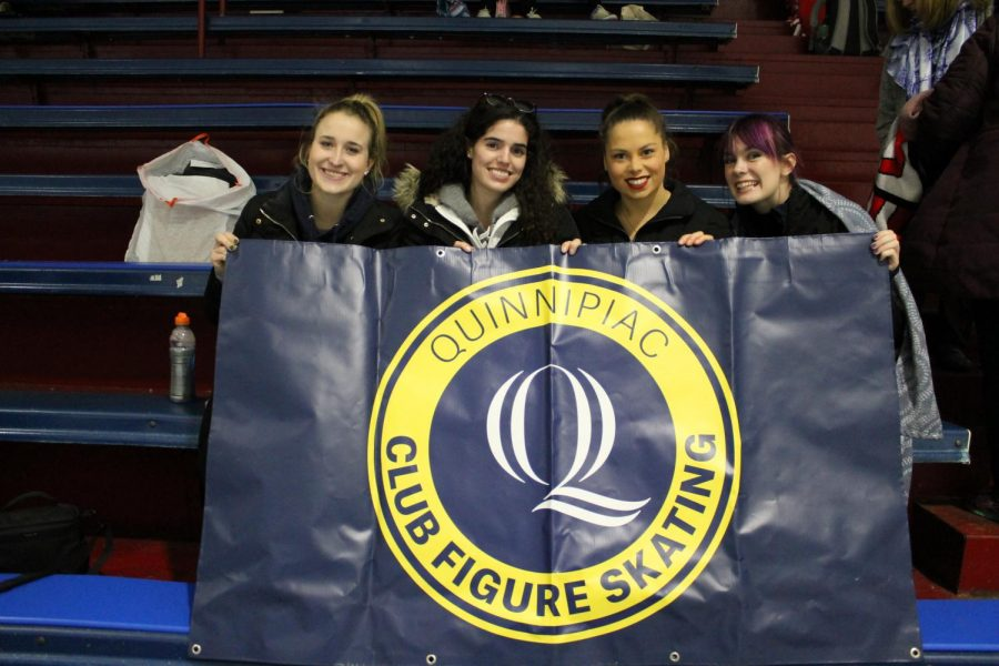 Senior Judy Chicoine (second from the left) is the first president of the club figure skating team.