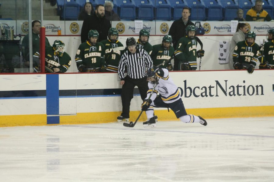Freshman defenseman Kate Reilly settles the puck at the blue line.