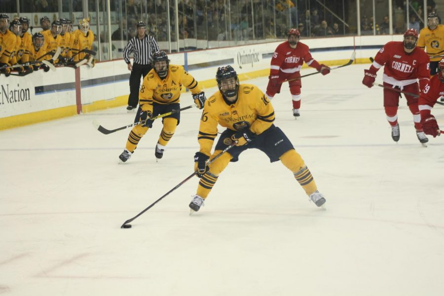 Sophomore forward William Fällström fires a shot on net, one of his two shots on goal.