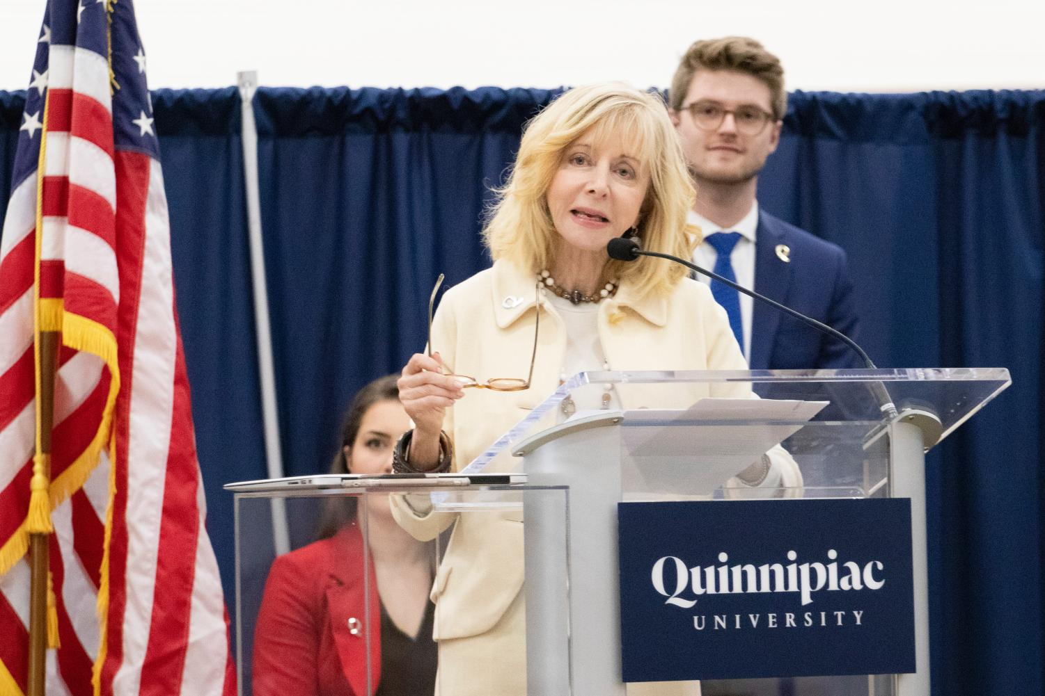 Judy Olian focused on construction and community in her speech.