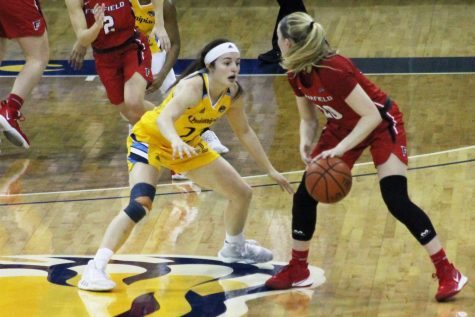 Sophomore guard Mackenzie DeWees pressures the Fairfield ball handler.
