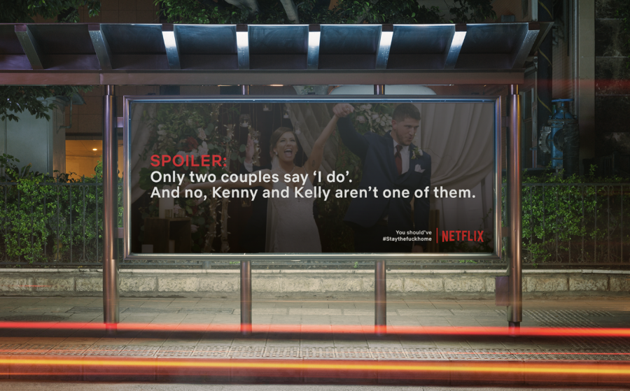The billboards gave spoilers from Netflix shows, encouraging people to stay indoors so they avoid learning about the endings.