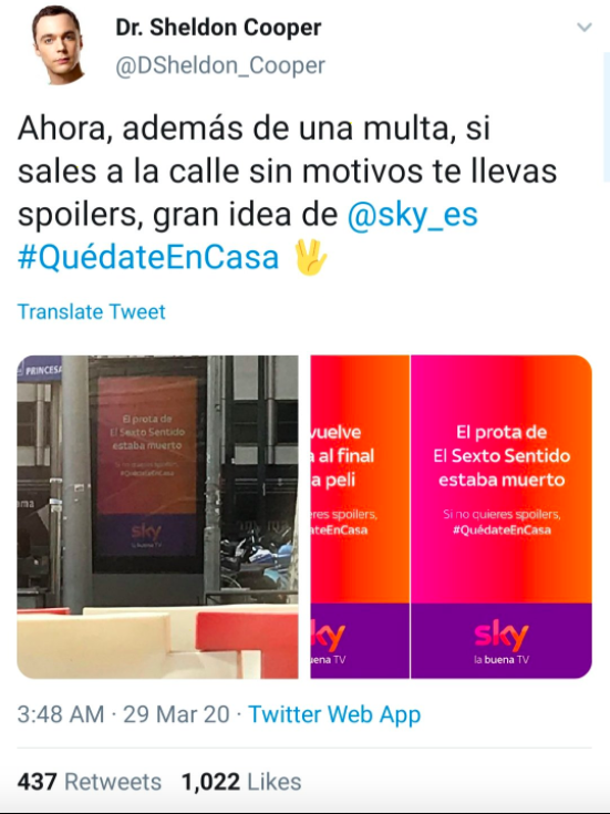 Several people posted pictures of the billboards Sky put up on the streets in Spain.