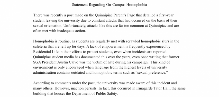Quinnipiac students demand gender and sexuality inclusivity