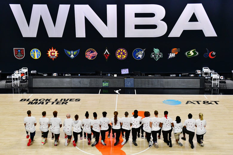 In the WNBA bubble, players wore shirts with seven red bullet holes, referencing the shots that Jacob Blake received from an officer in Kenosha, Wisconsin.