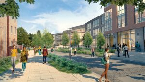 "Proposed rendering of Mount Carmel Campus Bobcat Way, looking east at new housing and new ""Bobcat Hub."
