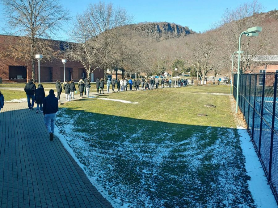 Long lines are common for COVID-19 testing now that all undergraduates will be tested every week in February.