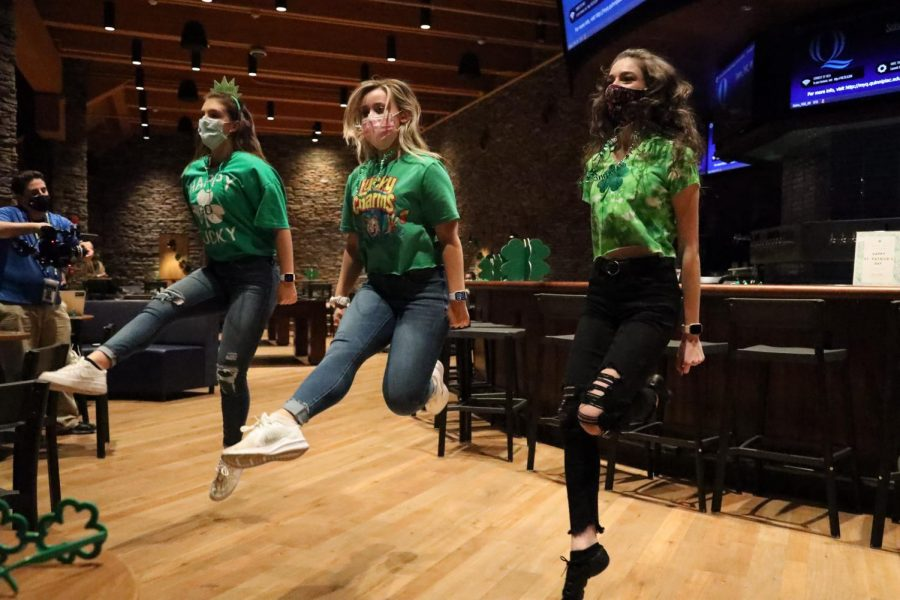 Gianna Fleming (right) dancing along with Catherine Wallace (left) and Jessica Grant (center).