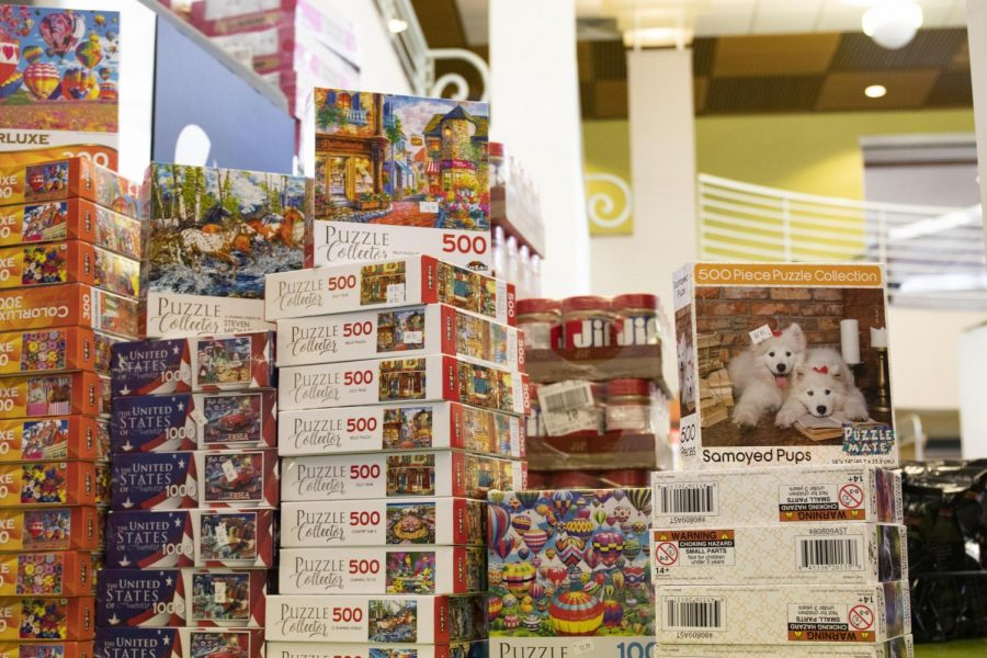The dining hall now sells things such as puzzles to help students use up their meal points.