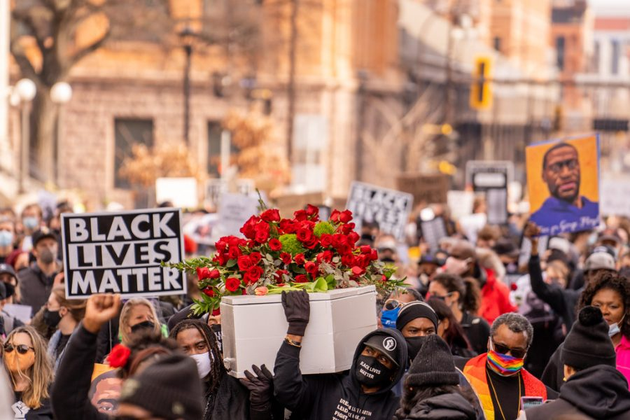 Protestors marched in Minneapolis, Minnesota, the day before the trial of former police officer Derek Chauvin who was found guilty of murdering George Floyd.