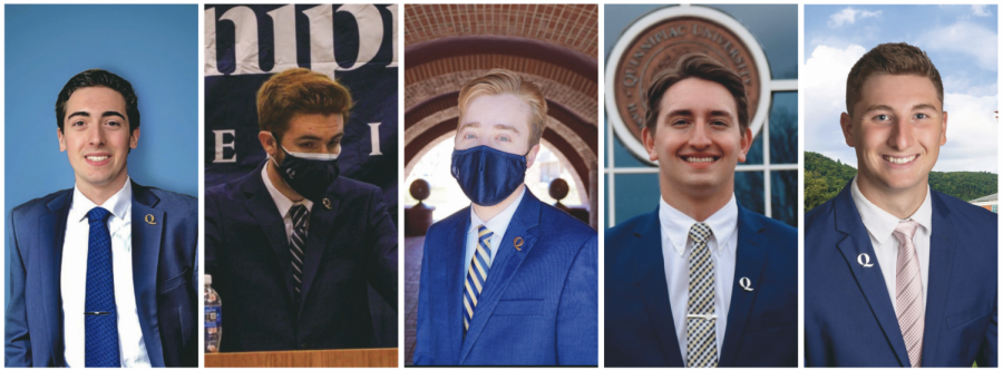 (From left to right): SGA President Nick Ciampanelli, Vice President Christopher Longchamp, Vice President for Inclusion, Diversity and Engagement Jeremy Gustafson, Vice President for Finance Cameron Davignon and Vice President for Public Relations Carmine Grippo.