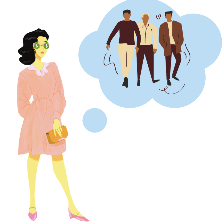 When looking for partners many people focus on material qualities like wealth rather than who they are as a person. (Illustration by Emily DiSalvo)