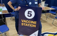 Samantha Batavia (left) and Caroline Alexopoulos (right) volunteered at on-campus COVID-19 vaccination clinic.