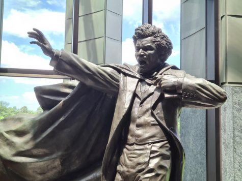 Statue of Fredrick Douglass is located at the entrance of the Quinnipiac School of Law.