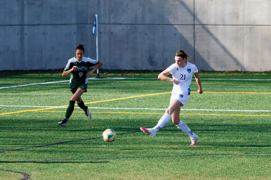 Sophomore forward/midfielder Rebecca Cooke stayed hot to start the season, adding an assist to her collection of points (14 total points this season.)