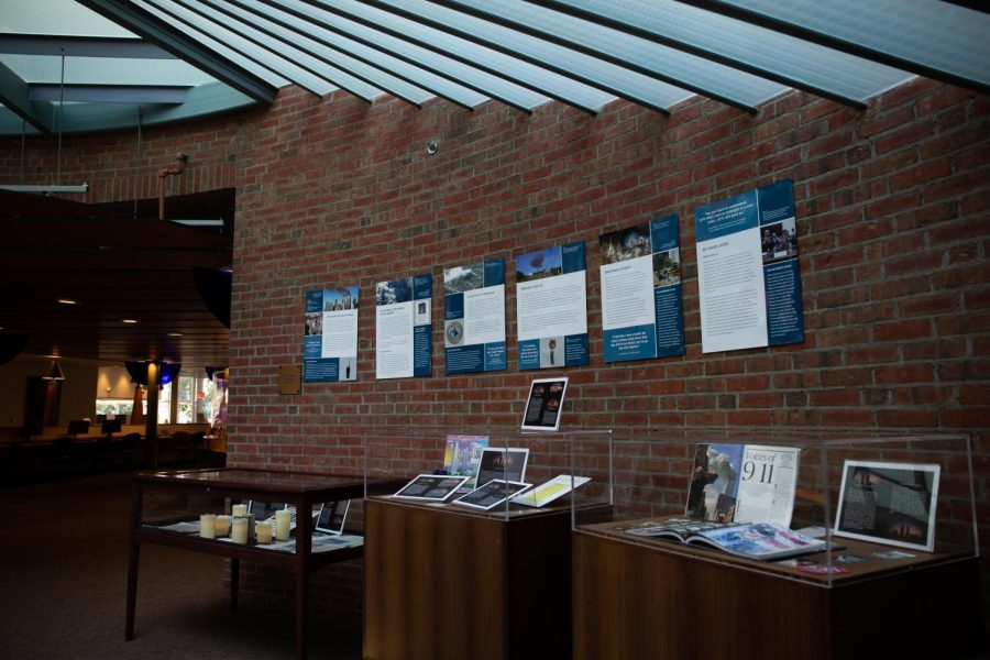 Quinnipiac Universitys Arnold Bernard Library put up a display about the 9/11 terrorist attacks.