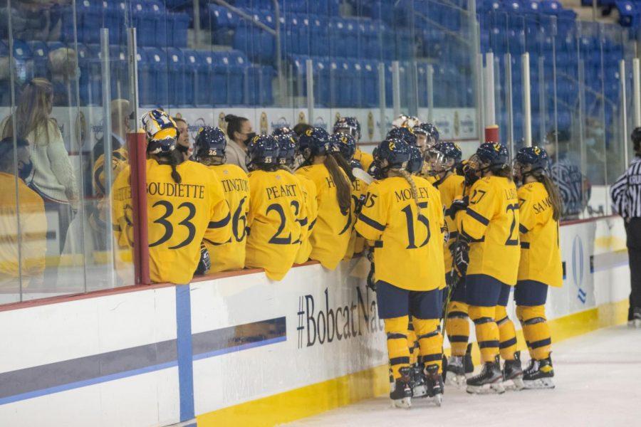 Graduate student goaltender Corinne Schroeder scored the first-ever goalie goal in Quinnipiac womens ice hockey history.