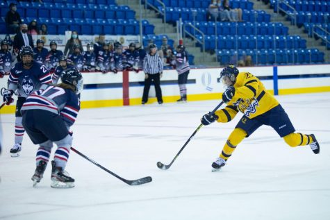 Quinnipiac womens ice hockey beat UConn 3-1 in its first and only exhibition game of the 2021-22 season.