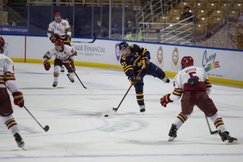 The Bobcats tied one game and won one game at the Ice Breaker Tournament, boosting their national ranking from No. 9 to No. 8. Photo from