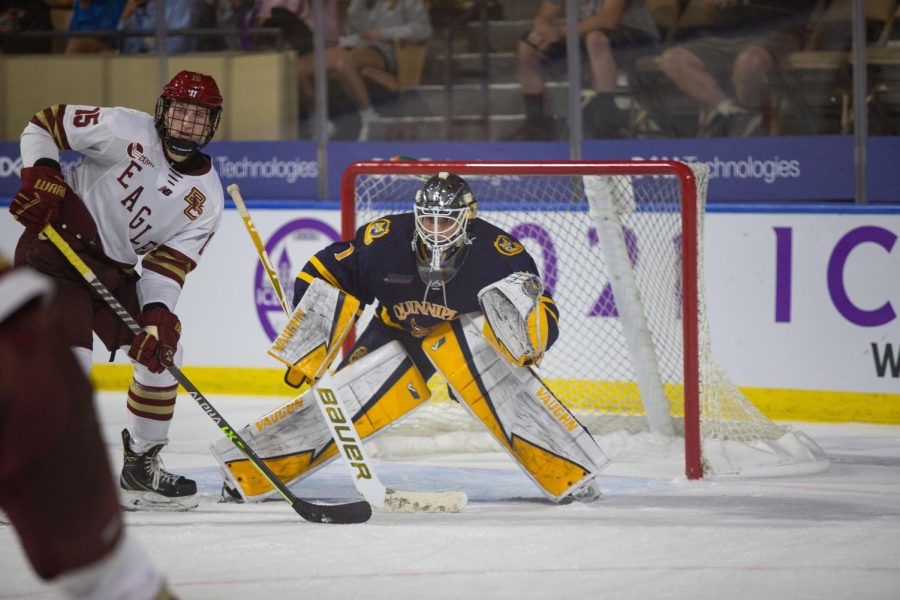 Sophomore goaltender Yaniv Perets replaced graduate student goalkeeper Dylan St. Cyr, who missed Saturdays game with an injury. Photo from