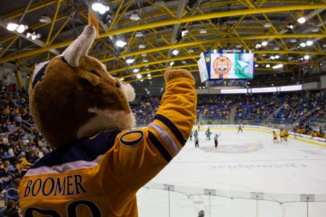 The mens ice hockey team drew audiences of 3,498 and 3,512 on Friday and Saturday, respectively, for its home opening weekend against North Dakota. Photo from