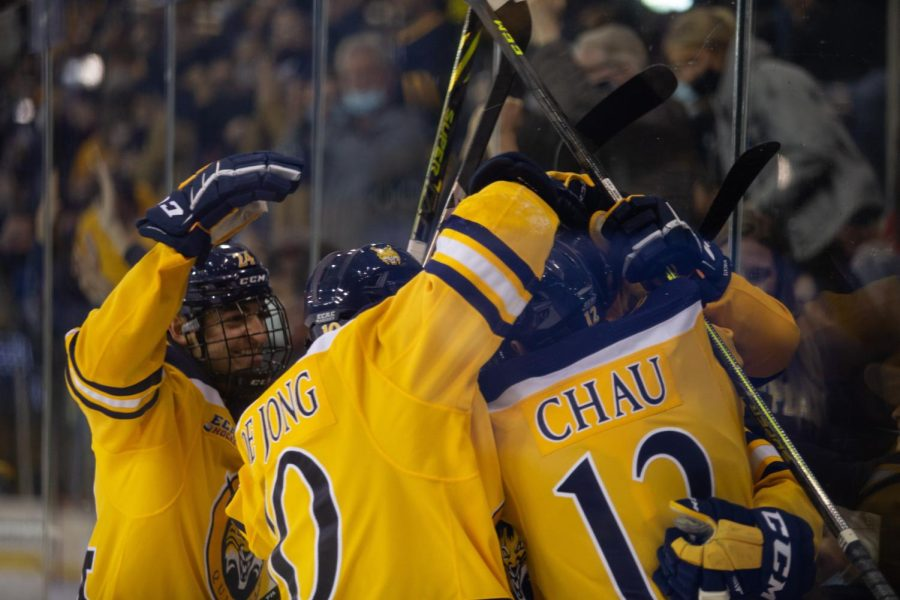 Forwards Ethan de Jong (senior) and Oliver Chau (graduate student) combined for three goals and four assists this weekend against North Dakota. Photo from