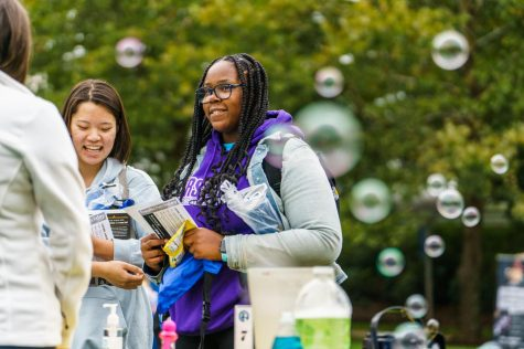 Deja Banner, a junior behavioral neuroscience major, attends Fresh Check Day, which was organized by Counseling Services.